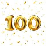 Vector 100. Feiergoldballone und goldenes Konfettifunkeln Design der Illustration 3d für Ihre Grußkarte, Einladung und Lizenzfreie Stockbilder