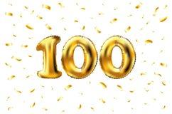 Vector 100. Feiergoldballone und goldenes Konfettifunkeln Design der Illustration 3d für Ihre Grußkarte, Einladung und Lizenzfreies Stockbild