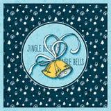 vector Feiertagsweihnachten und Hintergrund des neuen Jahres mit Beschaffenheit und Hand gezeichneten Glocken Design für Poster,  Stockbild