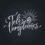 Vector Feliz Cumpleanos, translated Happy Birthday lettering design. Festive illustration with cake for greeting cards. Vector Feliz Cumpleanos, translated Royalty Free Stock Image