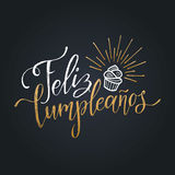 Vector Feliz Cumpleanos, translated Happy Birthday lettering design. Festive illustration with cake for greeting cards. Vector Feliz Cumpleanos, translated Royalty Free Stock Photography