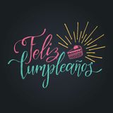 Vector Feliz Cumpleanos, translated Happy Birthday lettering design. Festive illustration with cake for greeting cards. Stock Image
