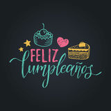 Vector Feliz Cumpleanos, translated Happy Birthday lettering design. Festive illustration with cake for greeting cards. Royalty Free Stock Image