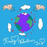 Vector feliz del cupido del día de tarjetas del día de San Valentín Fotografía de archivo