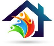 Vector feliz del diseño del icono del elemento del vector del logotipo del hogar del cuidado del amor de la familia de las propie libre illustration