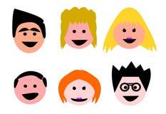 Vector feliz Logo Illustration de la historieta de la gente stock de ilustración