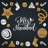 Vector Feliz Navidad translated Merry Christmas lettering with festive New Year elements. Happy Holidays typography. Vector Feliz Navidad translated Merry Stock Images