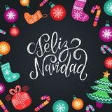 Vector Feliz Navidad translated Merry Christmas lettering with festive New Year elements. Happy Holidays typography. Vector Feliz Navidad translated Merry Royalty Free Stock Photography
