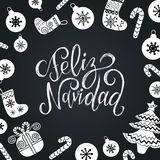 Vector Feliz Navidad translated Merry Christmas lettering with festive New Year elements. Happy Holidays typography. Vector Feliz Navidad translated Merry Royalty Free Stock Image
