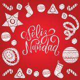 Vector Feliz Navidad translated Merry Christmas lettering with festive New Year elements. Happy Holidays typography. Vector Feliz Navidad translated Merry Stock Image