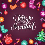 Vector Feliz Navidad translated Merry Christmas lettering with festive New Year elements. Happy Holidays typography. Vector Feliz Navidad translated Merry Stock Photos