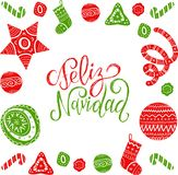 Vector Feliz Navidad translated Merry Christmas lettering with festive New Year elements. Happy Holidays typography. Vector Feliz Navidad translated Merry Royalty Free Stock Photos