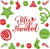 Vector Feliz Navidad translated Merry Christmas lettering with festive New Year elements. Happy Holidays typography. Vector Feliz Navidad translated Merry Royalty Free Stock Photo
