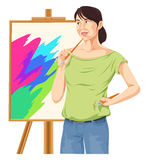 Vector of female artist thinking. Royalty Free Stock Images