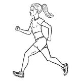 Vector Female Character. Jogging Young Woman. Stock Photography