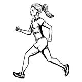Vector Female Character. Jogging Young Woman. Royalty Free Stock Photos