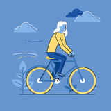 Vector female character - woman riding bicycle Royalty Free Stock Photo