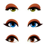 Vector female eyes collection in different emotion with blue, br. Own and green eye iris. Women eyes with stylish makeup isolated on white background Stock Photo