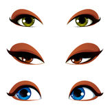 Vector female eyes collection in different emotion with blue, br. Own and green eye iris. Women eyes with stylish makeup isolated on white background Royalty Free Stock Image