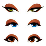 Vector female eyes collection in different emotion with blue, br. Own and green eye iris. Women eyes with stylish makeup isolated on white background Royalty Free Stock Photos