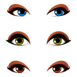 Vector female eyes collection in different emotion with blue, br Stock Photography