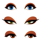 Vector female eyes in different emotion with blue, brown and gre Stock Photos