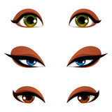 Vector female eyes in different emotion with blue, brown and gre. En eye iris. Women eyes with stylish makeup isolated on white background Royalty Free Stock Images