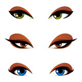 Vector female eyes in different emotion with blue, brown and gre. En eye iris. Women eyes with stylish makeup isolated on white background Royalty Free Stock Photography