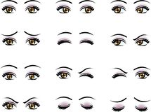 Vector female eyes in different emotion Stock Photos