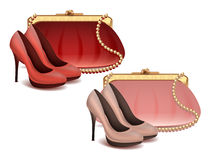 Vector female fashion accessories set  Handbag and shoes in pink and red colors. Vector female fashion accessories set white background Handbag and shoes in pink Stock Images