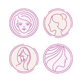 Vector female logos Royalty Free Stock Image