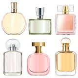 Vector Female Perfume Bottles. Isolated on white background stock illustration