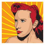 Vector female portrait. Vector portrait of young pin-up female in a graphic novel style Royalty Free Stock Photos