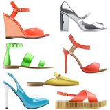 Vector Female Summer Shoes. Isolated on white background Stock Photo