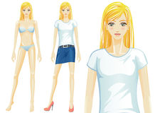 Vector female t-shirt fashion model (Caucasian) Stock Photo