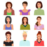 Vector Female woman character faces avatars in different clothes and hair styles. Stock Photos