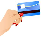 Vector females hand with credit card. Royalty Free Stock Photos