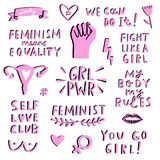 Vector feminism symbols icon set. Femenist movement Stock Photos
