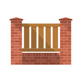 Vector fence. Brick fence with wooden picket. Flat design, long shadow. Elements of design for web and mobile applications. Background Stock Photography
