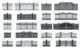 Vector fence silhouette set Royalty Free Stock Photo