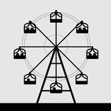 Vector of ferris wheel. Black and white color Stock Images