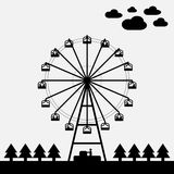 Vector of ferris wheel. Black and white color Royalty Free Stock Images