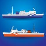 Vector ferry ship. On the sea eps10 Stock Photos