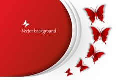 Vector festival background with red butterflies fly with a volume effects, illustration. Vector festival background with red butterflies fly with a volume Royalty Free Stock Photo
