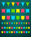 Vector festival flag garlands set for celebration. Flag garlands set of bunting paper flags on thread for carnival or festival celebration, Christmas party and Royalty Free Stock Image