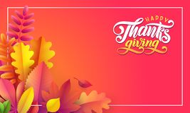 Vector autumn banner. Border of fallen leaves on red background. Lettering text Happy Thanksgiving. Empty text space royalty free illustration