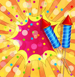 Vector festive background with firecrackers and confetti. The Vector festive background with firecrackers and confetti Stock Photography