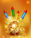 Vector festive background with glass disco ball and firecrackers Royalty Free Stock Photos