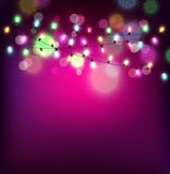 Vector festive background of luminous garlands of light bulbs Stock Photography