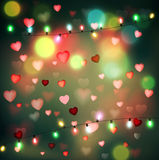 Vector festive background for Valentine's Day with hearts and gl Royalty Free Stock Photography